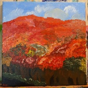 Hand painted fall canvas painting